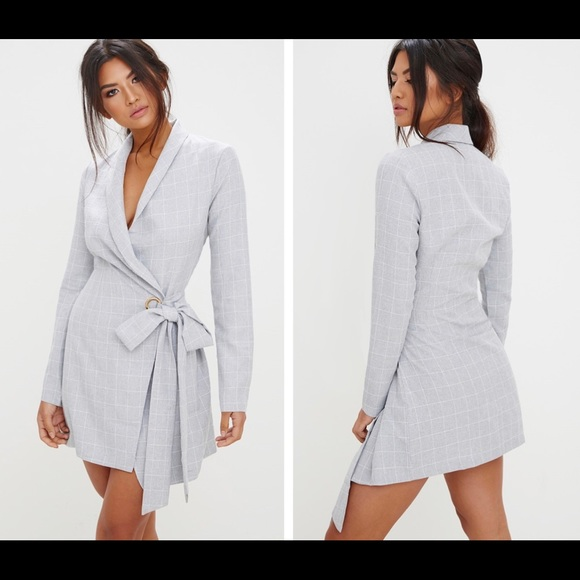 4c5d4075a5a Grey checkered blazer dress. M 5ac248878290afd1f7e6ab00